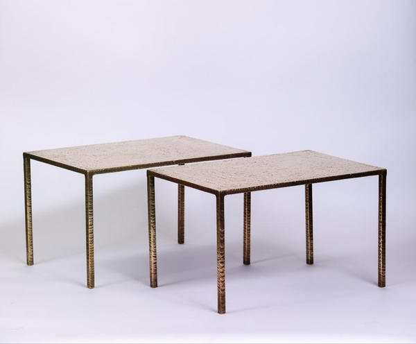 Costa Coulentianos Pair of Bronze Side Tables