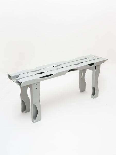 Soft Baroque Carved Aluminium Bench