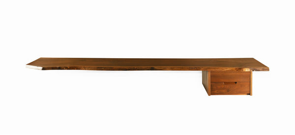 George Nakashima Wall Shelf with Drawers