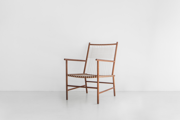 Studio Mumbai Rosewood and Muga Silk Lounge Chair V