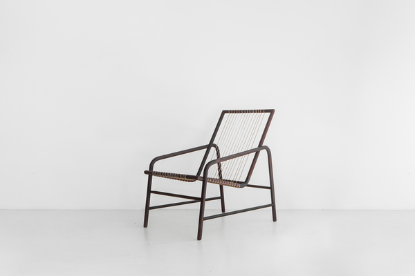 Studio Mumbai Rosewood and Muga Silk Lounge Chair IV