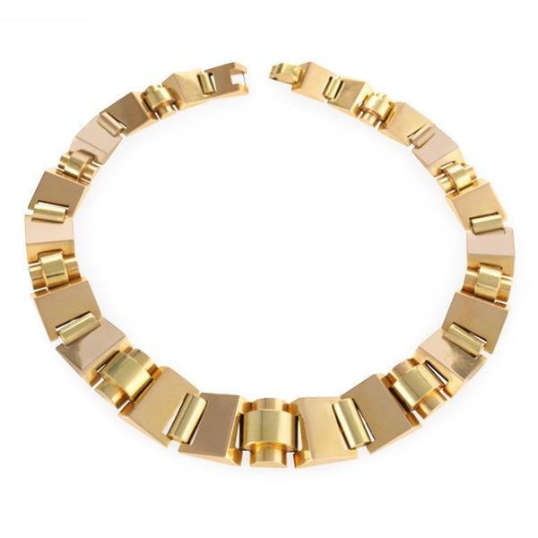 Polished Gold Tank Track Necklace