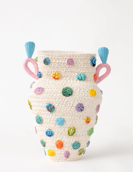 Glenn Barkley Large vase with tokens, haemorrhoid handle and shell