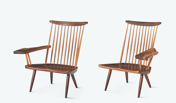 "George Nakashima Pair of ""New"" Lounge Chairs with Free-arms"