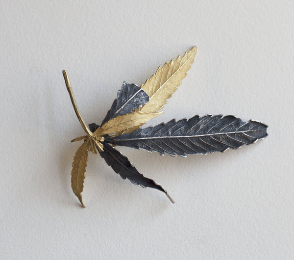 John Iversen Pot Leaf Gold and Silver Brooch
