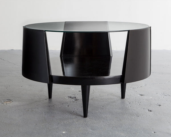 Martin Eisler and Susi Aczel Round Coffee Table in Ebonized Wood with Glass Top