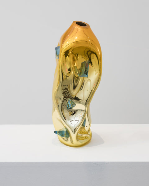 Jeff Zimmerman Crumpled Sculptural Vessel in Hand-blown Orange Glass