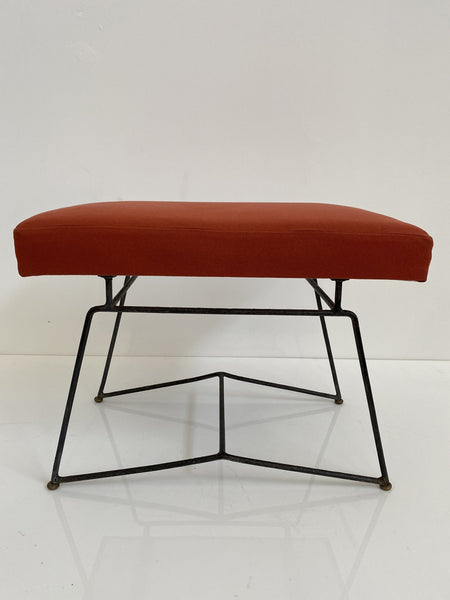 Acácio Gil Borsoi Stool with Upholstered Seat & Wrought Iron Base