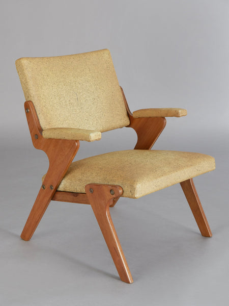 "José Zanine Caldas Armchair in plywood with upholstery designed by José Zanine Caldas and manufactured by Moveis Z, Brazil, c. 1950. 23.25"" (L) x 23"" (W) x 29"" (H) 59.1cm (L) x 58.4cm (W) x 73.7cm (H) $18,000.00"