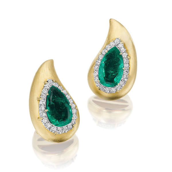 Suzanne Belperron Pair of Emerald and Diamond Ear Clips