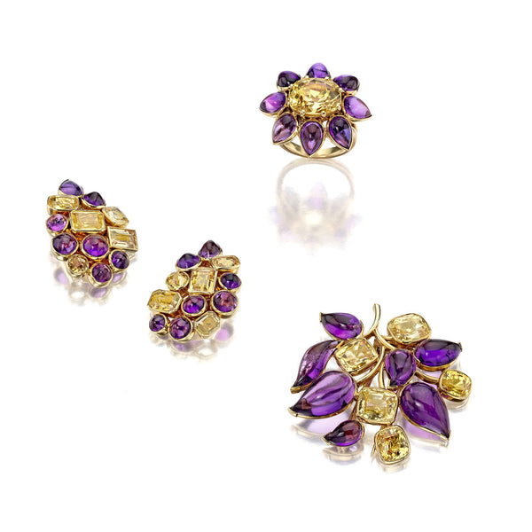 Suzanne Belperron Suite of Amethyst, Yellow Sapphire, and Citrine Brooch, Ear Clips, and Ring