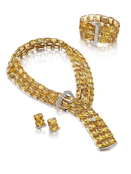 Paul Flato The Tibbett Suite: A Citrine and Diamond Belt Buckle Set