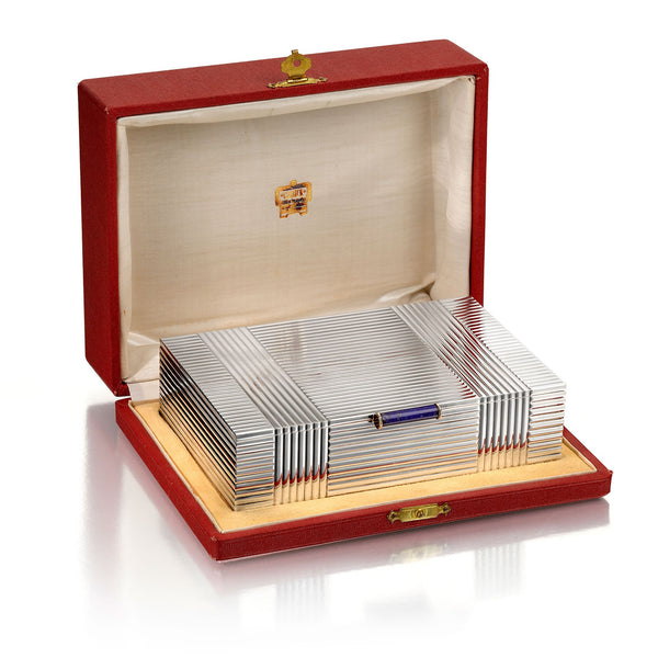 Cartier Art Deco Silver, Gold, and Lapis Lazuli Box