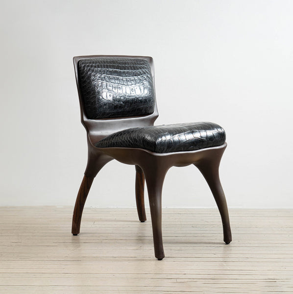 Alex Roskin Tusk Chair in Aluminum with Bronze Plating
