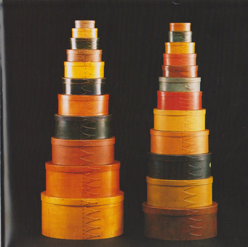 Unknown Shaker Craftsmen, Rare and Important Double Graduated Stacks of Painted Shaker Oval Boxes