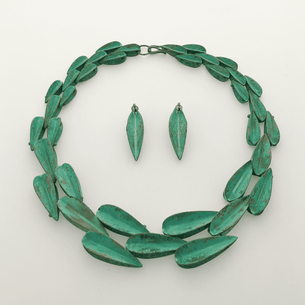 Robert Lee Morris Verdigris Patinated Brass Necklace and Earrings