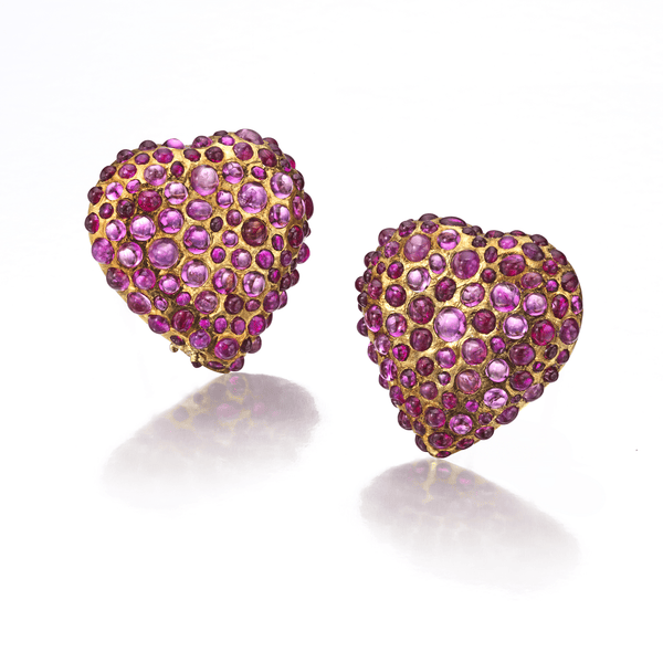 René Boivin Pair of Ruby Heart Ear Clips, Siegelson, city-New York, Jewelry