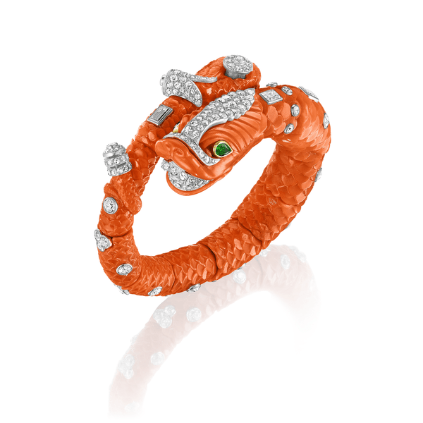 Cartier Carved Coral, Emerald, and Diamond Chimera Bangle, Siegelson, city-New York, Jewelry