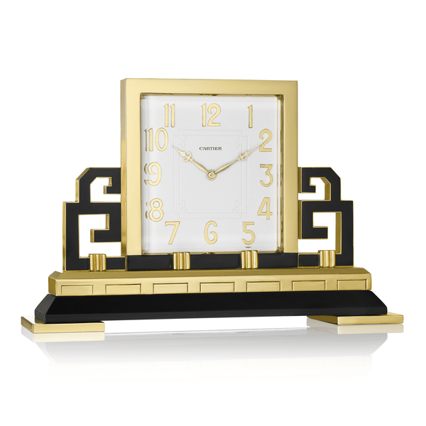 Cartier Art Deco Gilt Brass and Black Enamel Chinoiserie Clock
