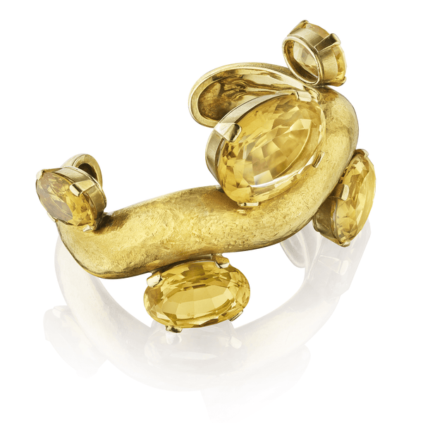 "Suzanne Belperron Citrine and Gold ""Vague"" Bracelet"