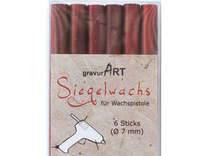 Siegelwachs (flexibel) für Pistole 7 mm, 6-er Pack Rot metallic