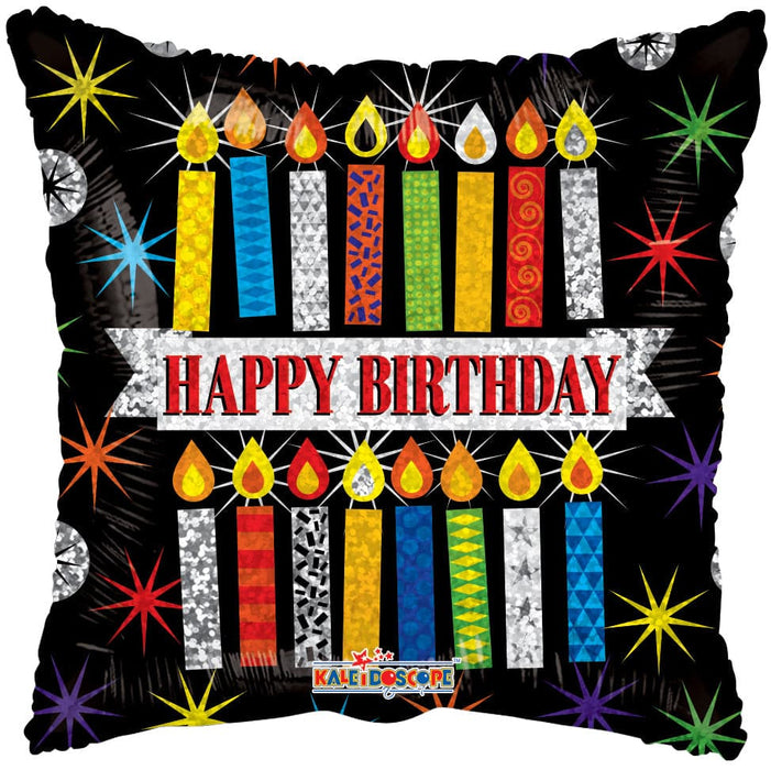 "18"" Happy Birthday Patterned Candles Foil Balloons 