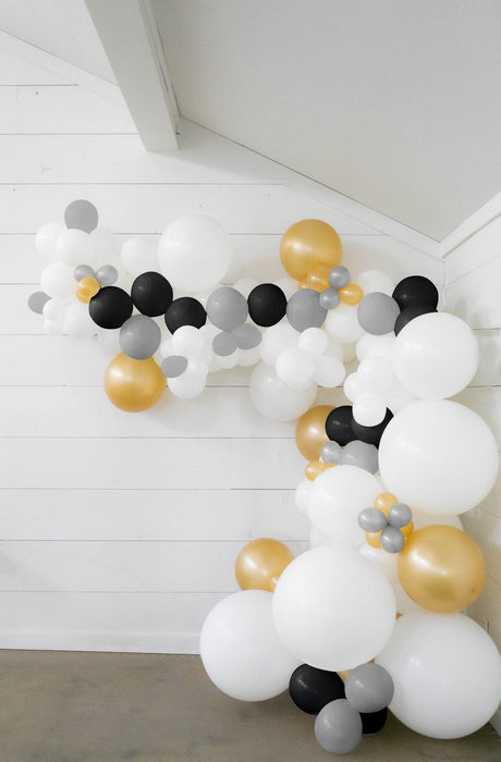25-ft DIY Balloon Garland Kit with White, Black, Gold & Silver Balloons