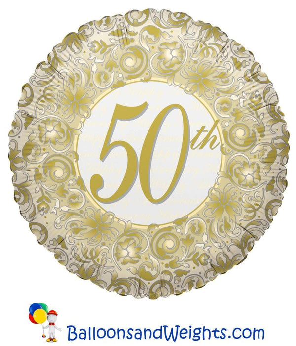 18 Inch 50th Anniversary Foil Balloon | 100 pcs