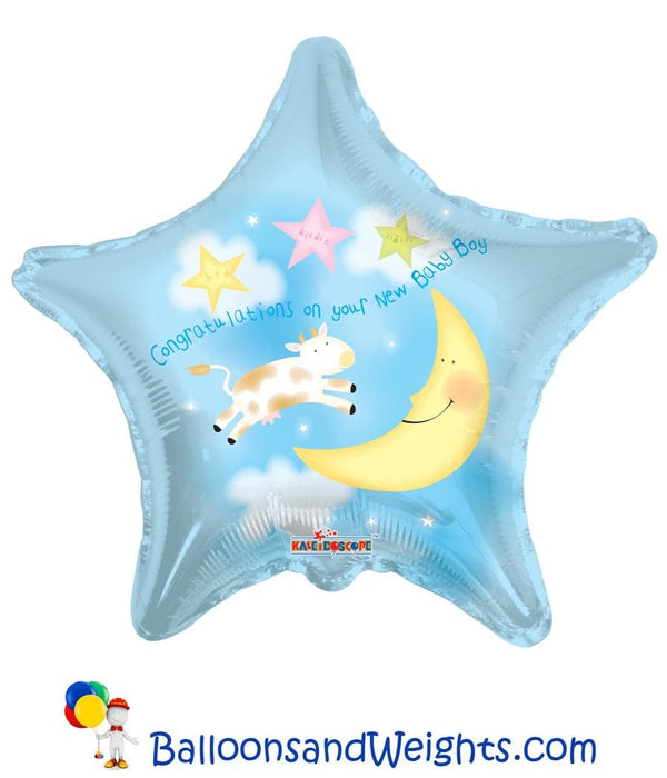 18 Inch Congratulations On Your New Baby Boy Foil Balloon | 100 pcs