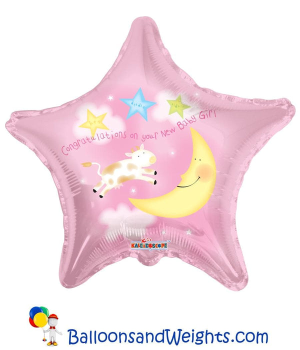 18 Inch Congratulations On Your New Baby Girl Foil Balloon | 100 pcs