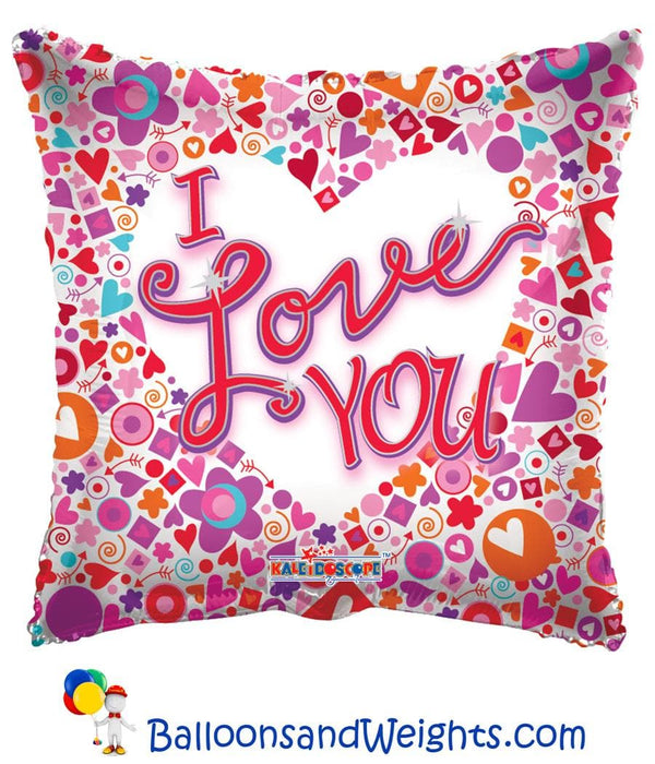 18 Inch I Love You Mosaic Clearview Foil Balloon | 100 pcs