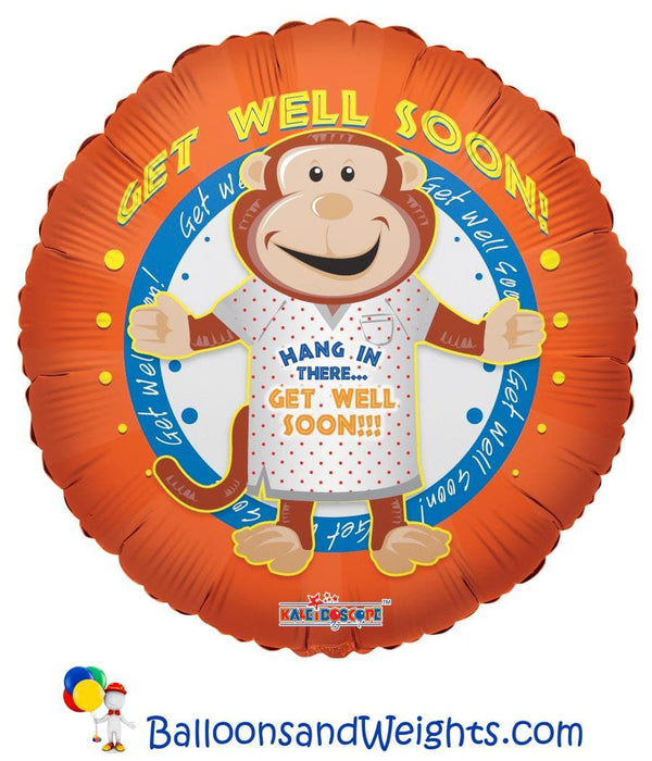18 Inch Get Well Monkey Foil Balloon | 100 pcs