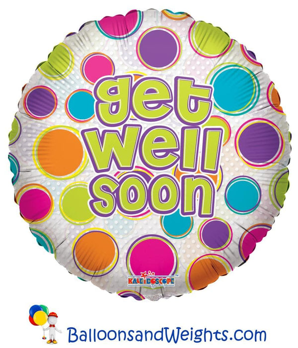 18 Inch Get Well Dots Clearview Foil Balloon | 100 pcs