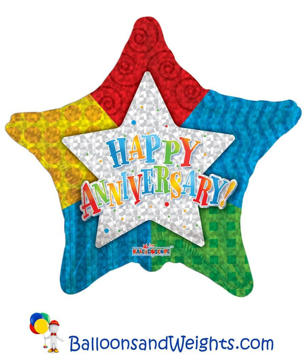 18 Inch Happy Anniversary Star Foil Balloon | 100 pcs