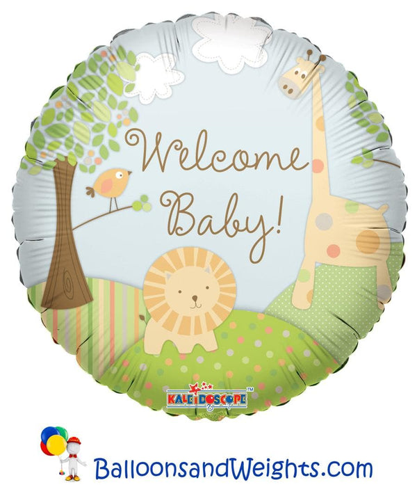 18 Inch Welcome Baby Jungle Foil Balloon | 100 pcs