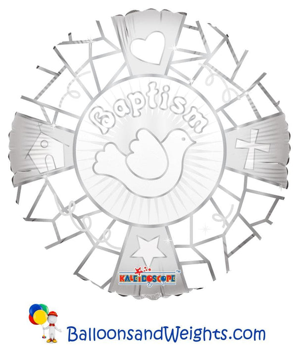 18 Inch Baptism on White Foil Balloon | 100 pcs