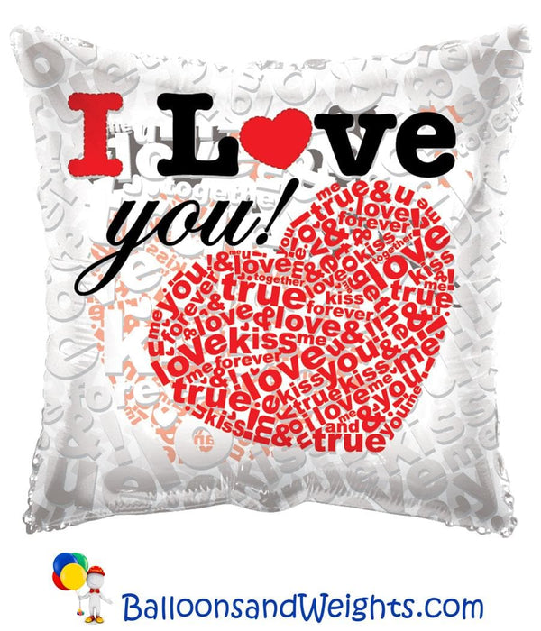 18 Inch I Love You Hearts with Letters Clearview Foil Balloon | 100 pcs