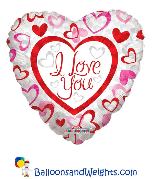 18 Inch I Love You Patterned Hearts Foil Balloon | 100 pcs