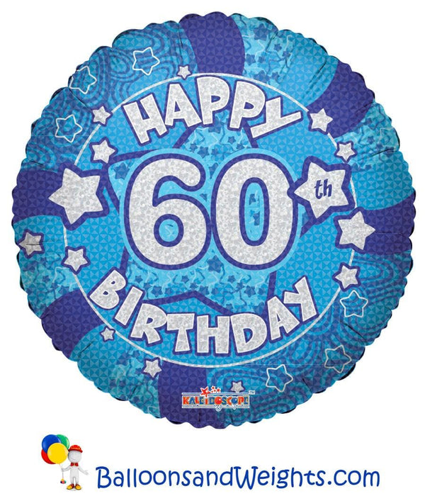 18 Inch Holographic Blue Happy 60th Birthday Foil Balloon | 100 pcs