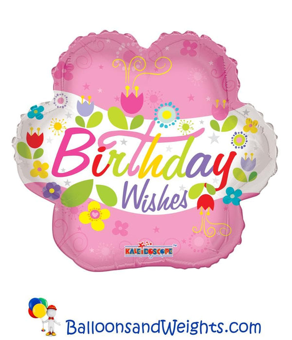 18 Inch Birthday Wishes Flower Foil Balloon | 100 pcs