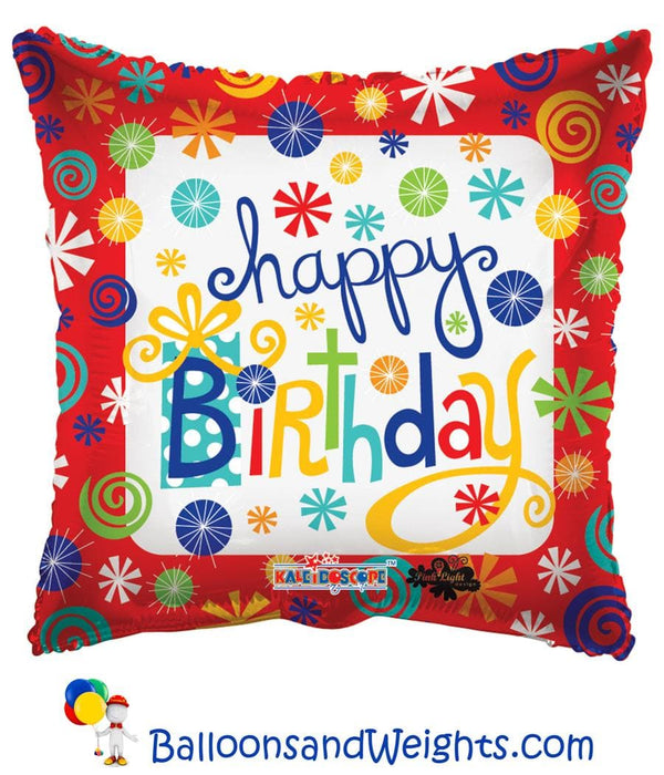 18 Inch Birthday Swirls Foil Balloon | 100 pcs