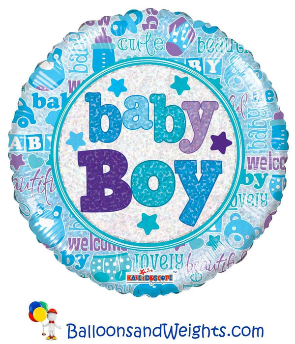 18 Inch Baby Boy Holographic Foil Balloon | 100 pcs