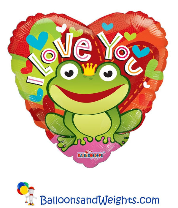 18 Inch I Love You Froggie Foil Balloon | 100 pcs