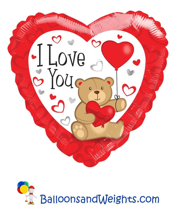 18 Inch I Love You Bear with Balloon Foil Balloon | 100 pcs