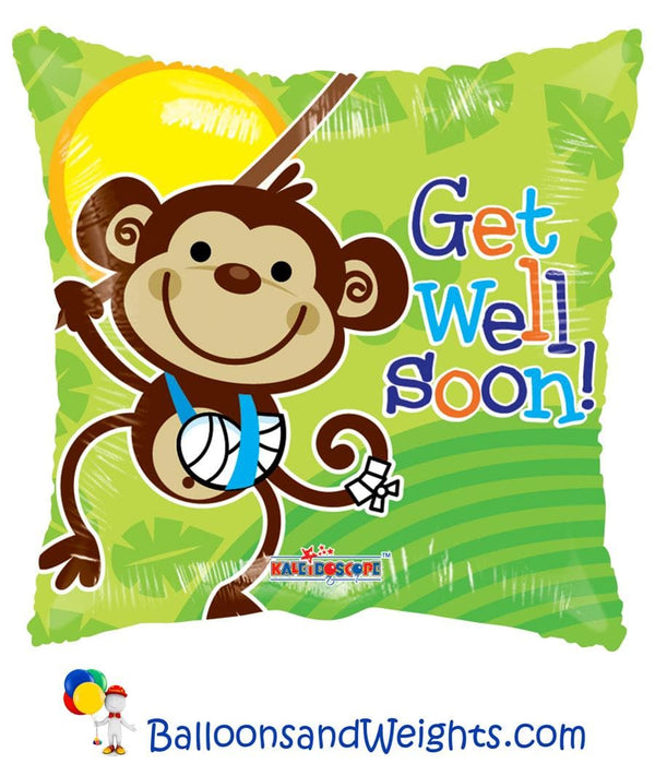 18 Inch Get Well Monkey Gellibean Foil Balloon | 100 pcs