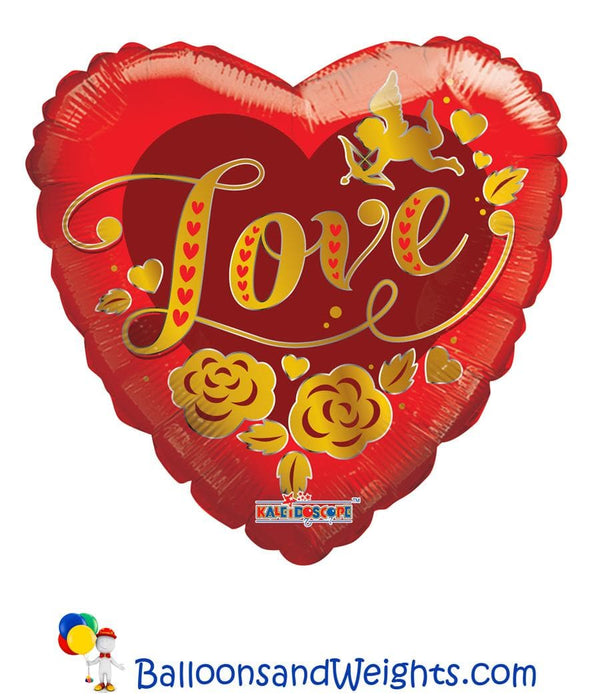 18 Inch Cupid Gold Love Foil Balloon | 100 pcs