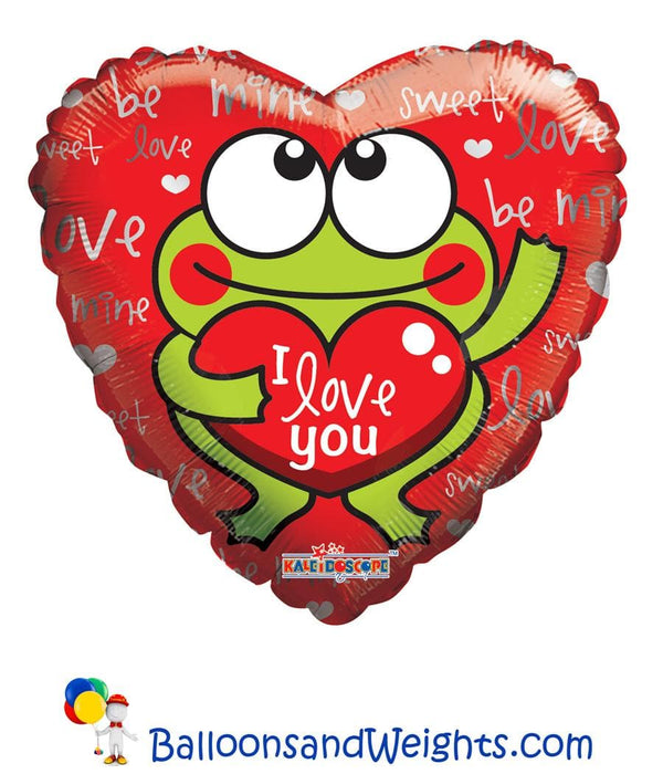 18 Inch I Love You Frog Foil Balloon | 100 pcs