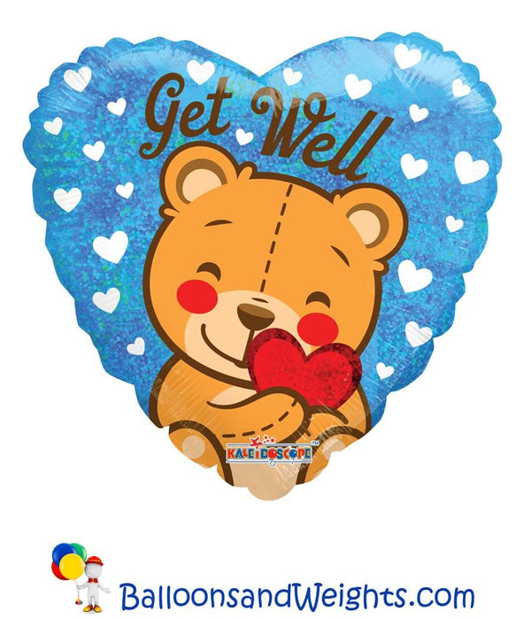 18 Inch Get Well Bear Holographic Foil Balloon | 100 pcs