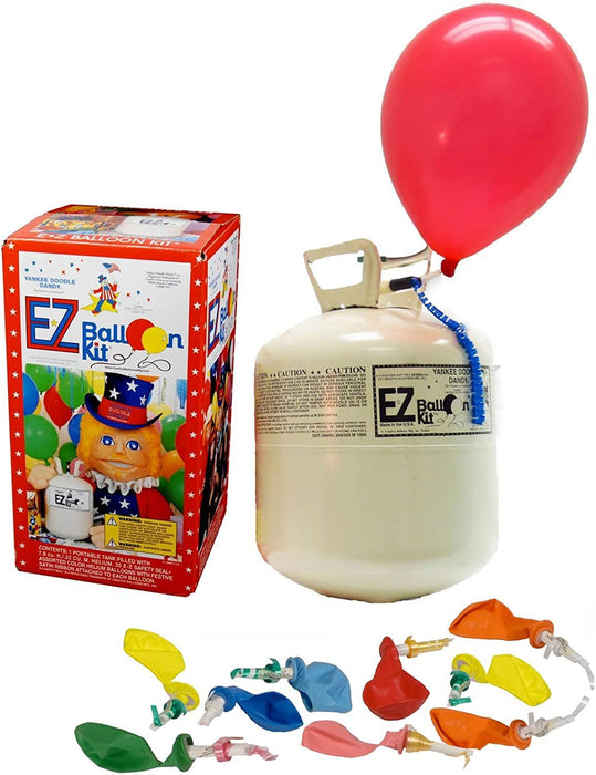Small E-Z Balloon Kit™ - Portable, Disposable Helium Tank with 20 Asst. Color Self-Sealing Valved Latex Balloons