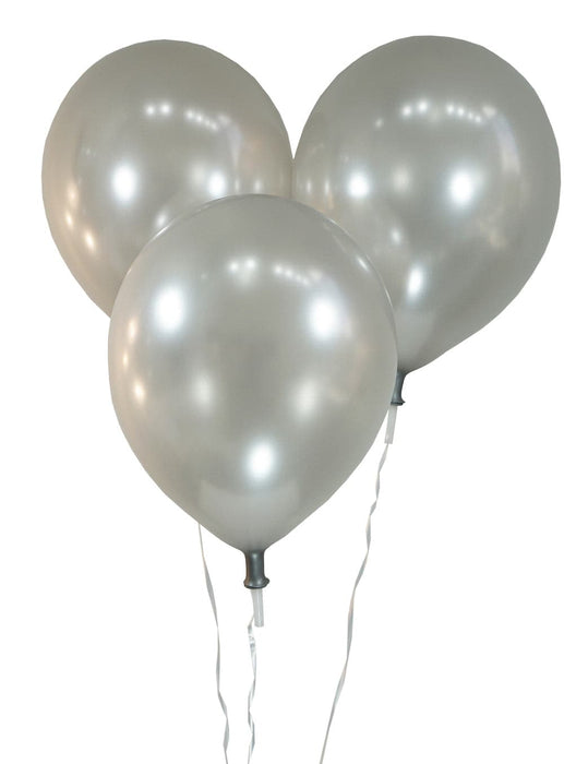 Wholesale 9 Inch Latex Balloons | Metallic Silver | 144 pc bag x 50 bags